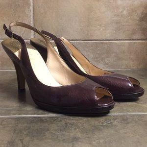 Purple patent leather slingback heels